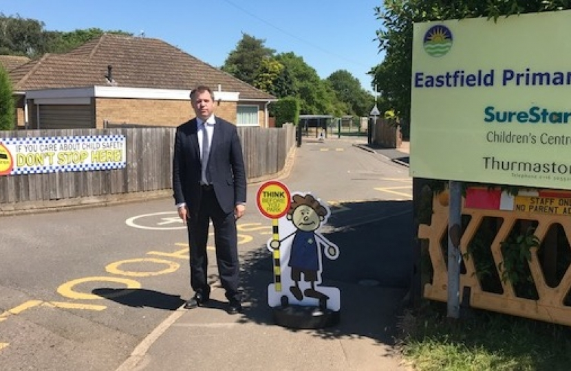 Edward outside Eastfield Primary School